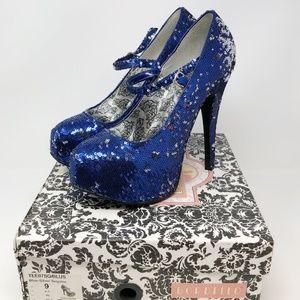 Bordello Blue/Silver Mary Jane Platform Heels